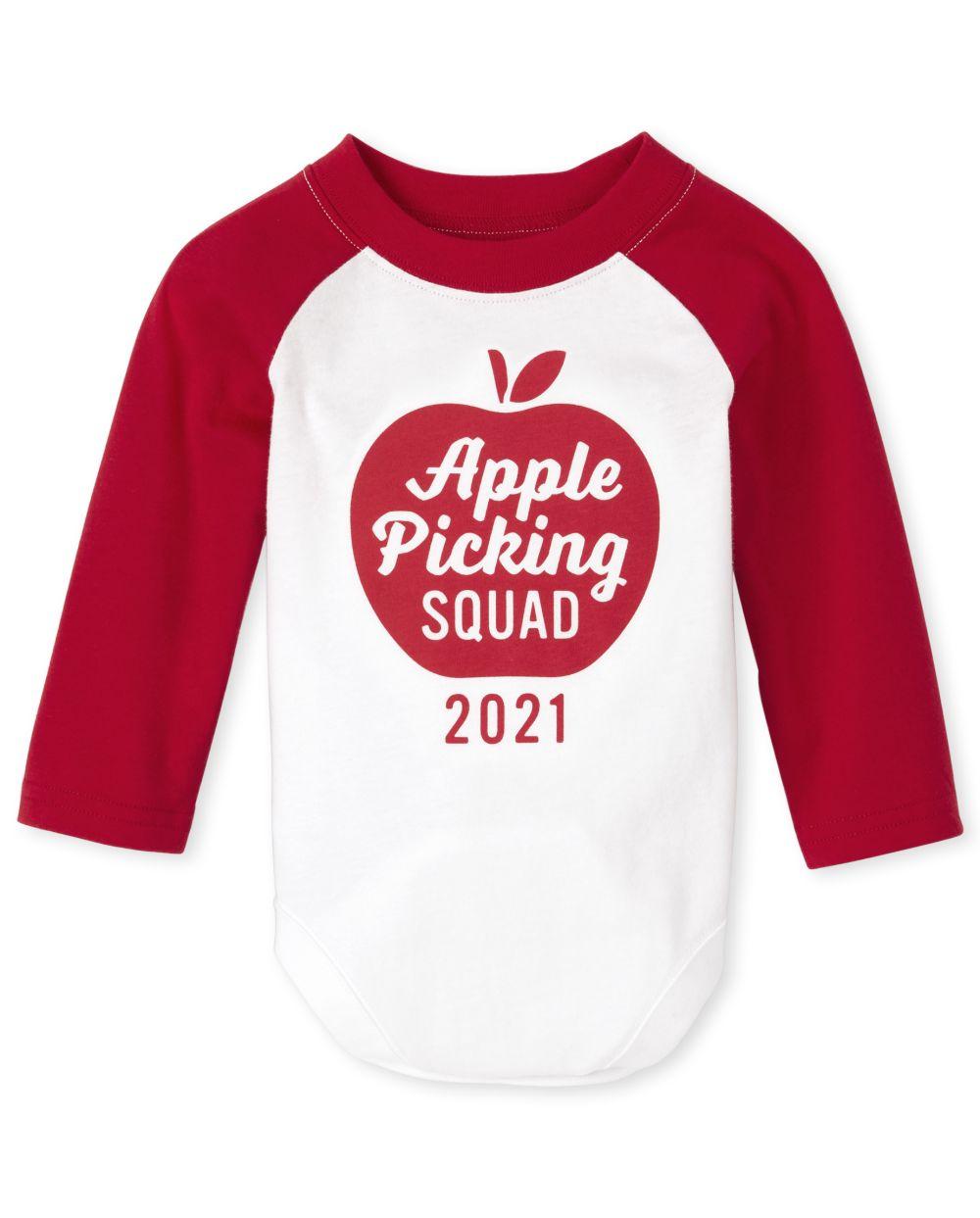 Newborn Unisex Baby Matching Family Apple Picking Graphic Bodysuit - White
