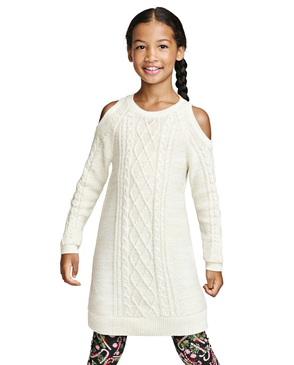 Girls Cable Knit Cold Shoulder Sweater Dress - White