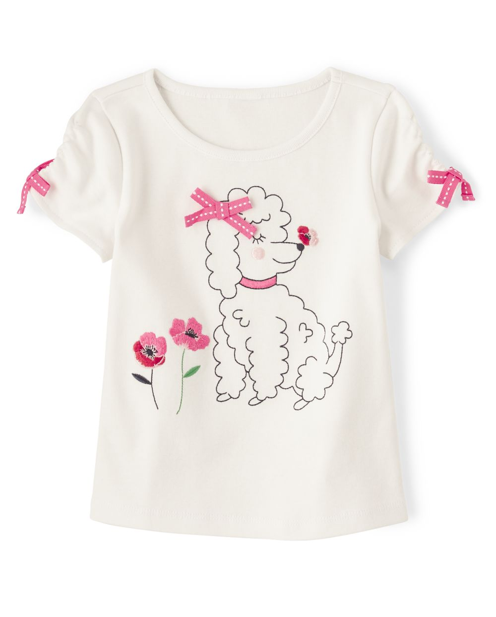 Girls Puppy Top - Playful Poppies