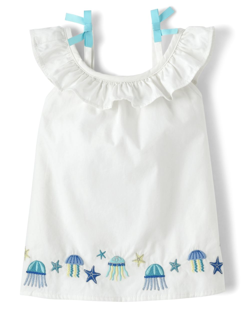 Girls Embroidered Jellyfish Ruffle Top - Under The Sea