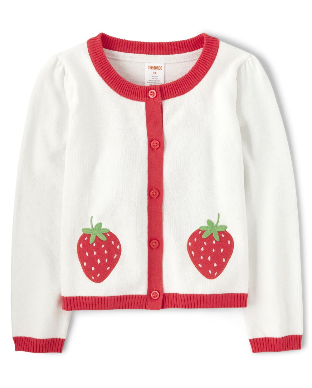 Girls Applique Cardigan - Strawberry Patch