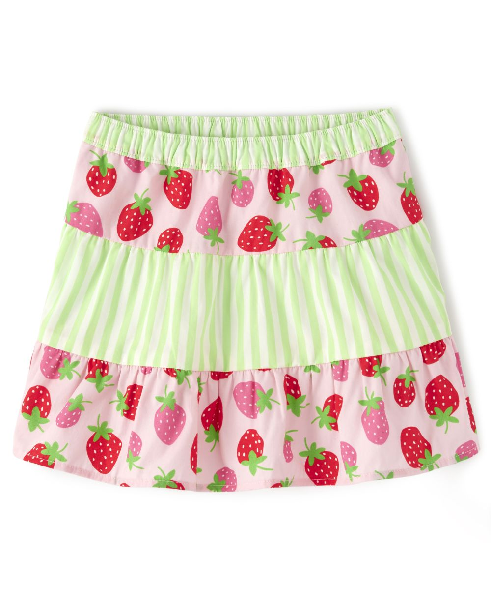 Girls Striped Tiered Skort - Strawberry Patch