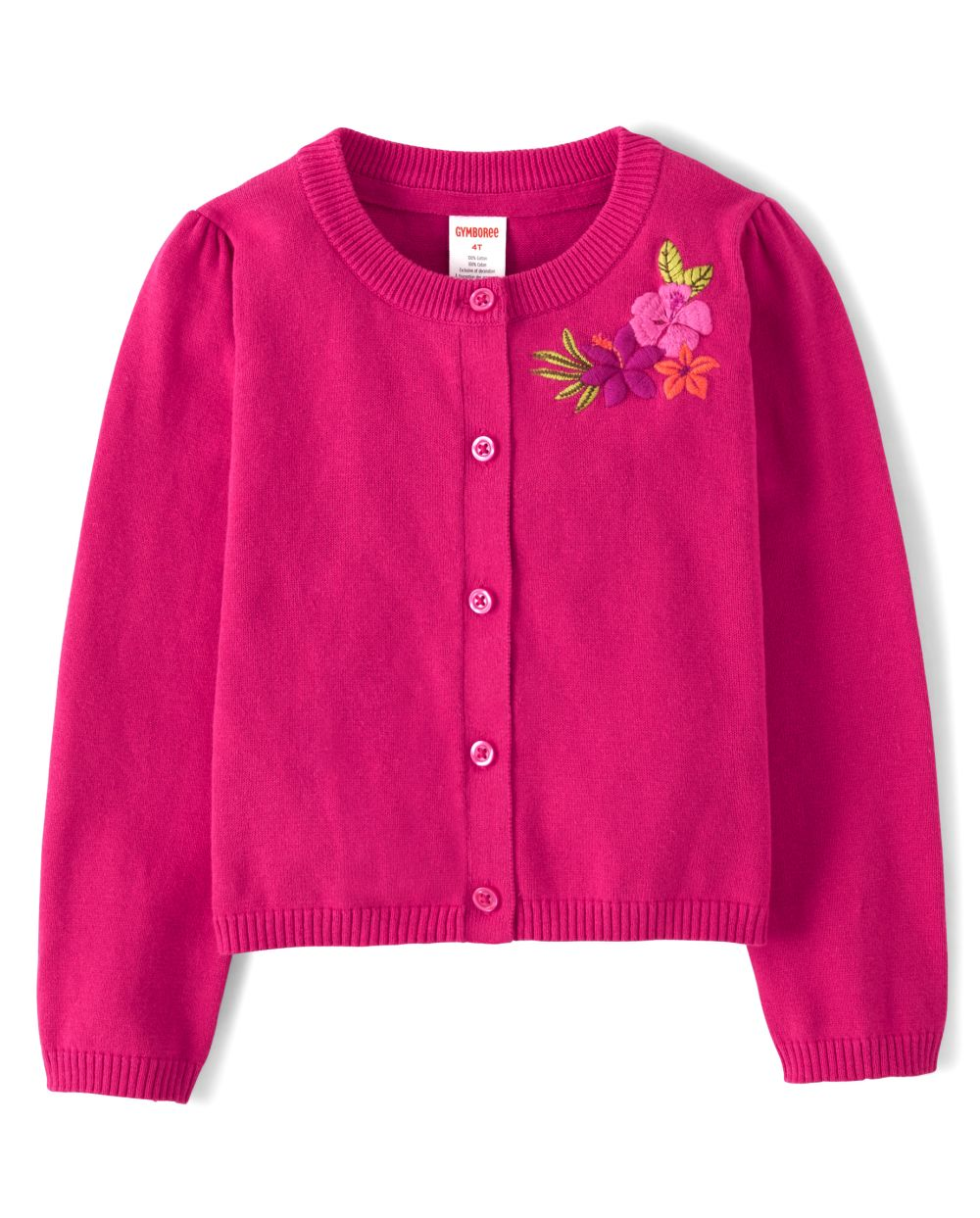 Girls Embroidered Flower Cardigan - Summer Safari