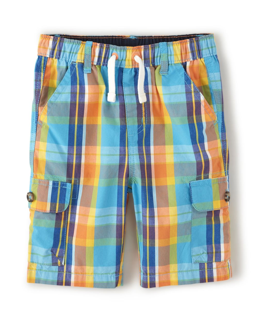 Boys Plaid Cargo Shorts - Travel Adventure