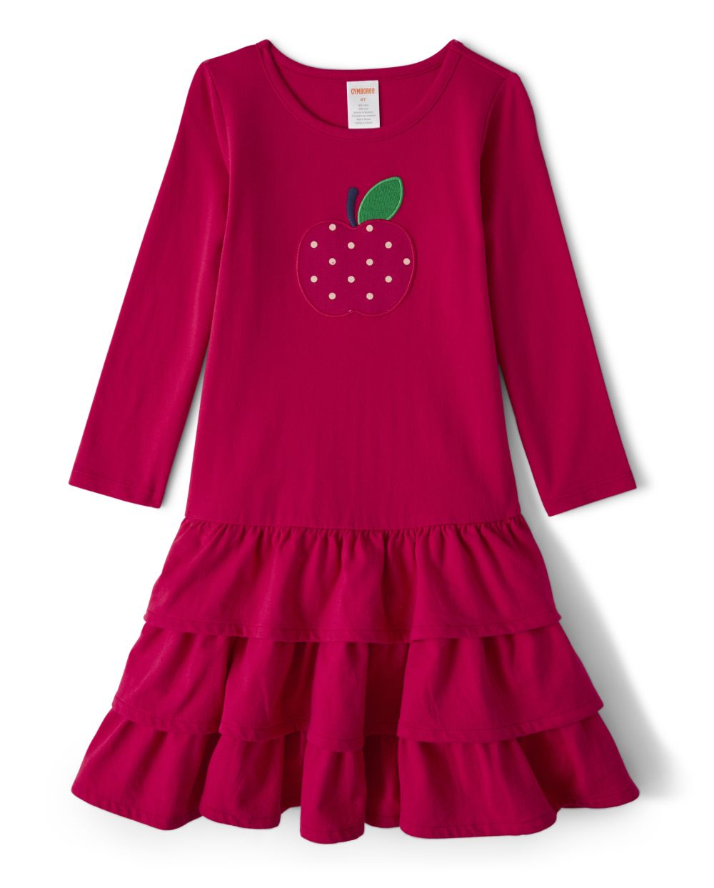Girls Embroidered Tiered Dress - Candy Apple