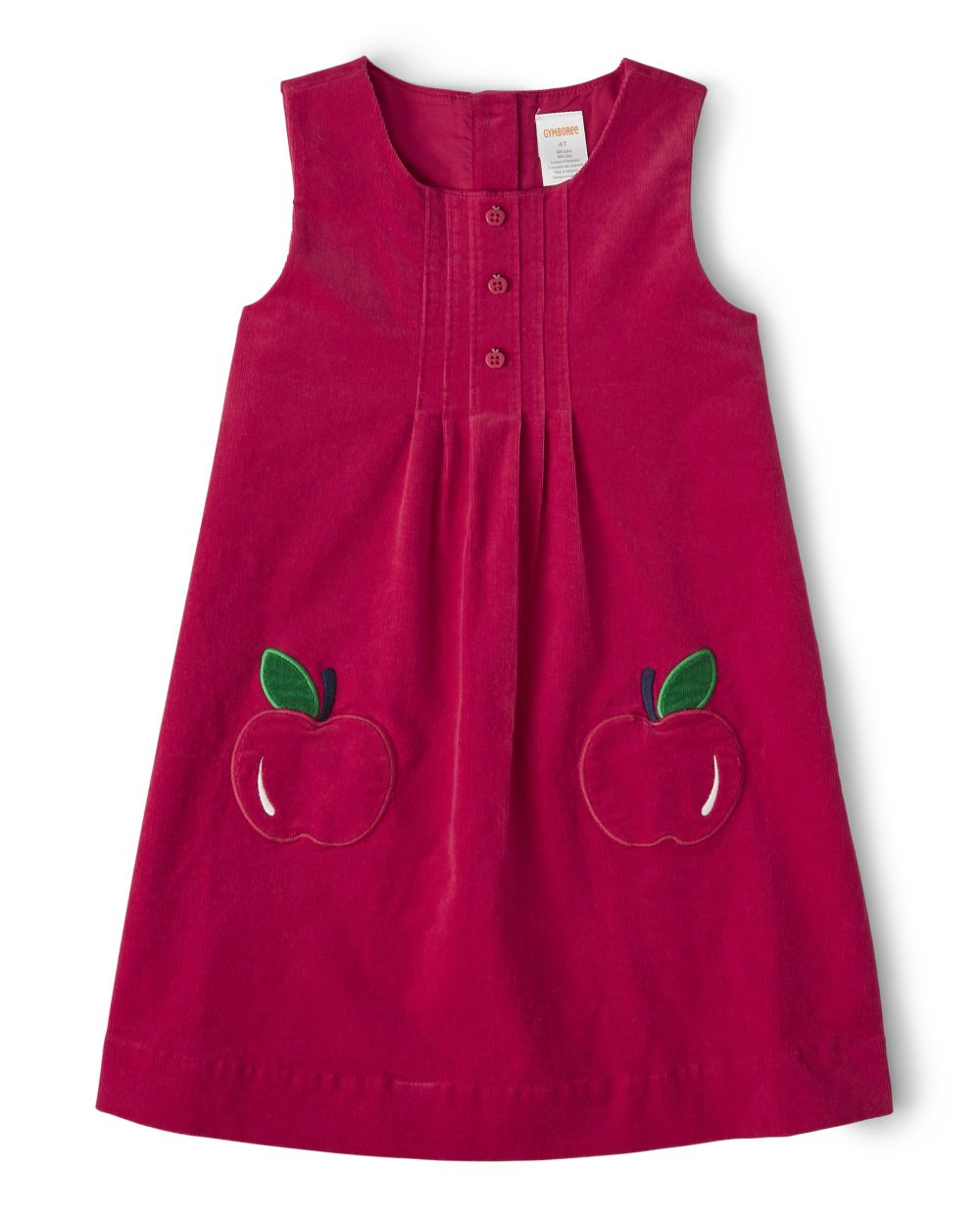 Girls Applique Corduroy Jumper - Candy Apple