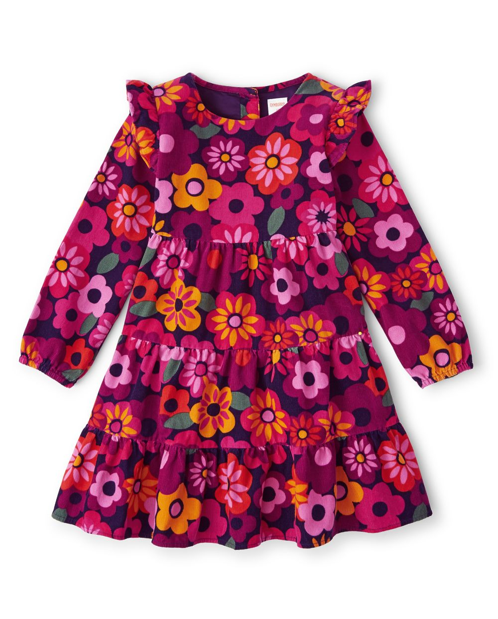 Girls Floral Corduroy Tiered Dress - Berry Cute