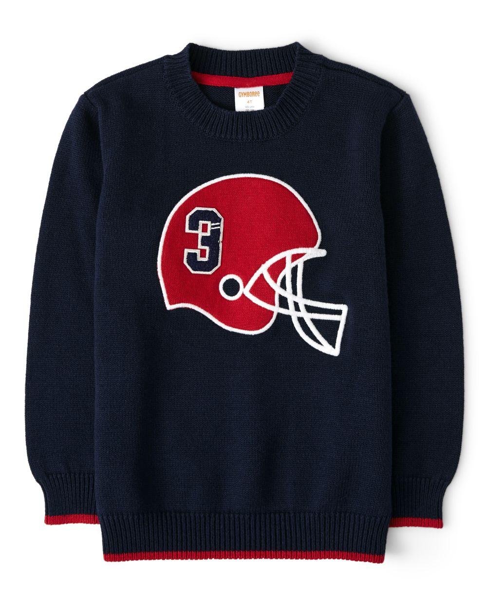 Boys Intarsia Football Sweater - Preppy Puppy