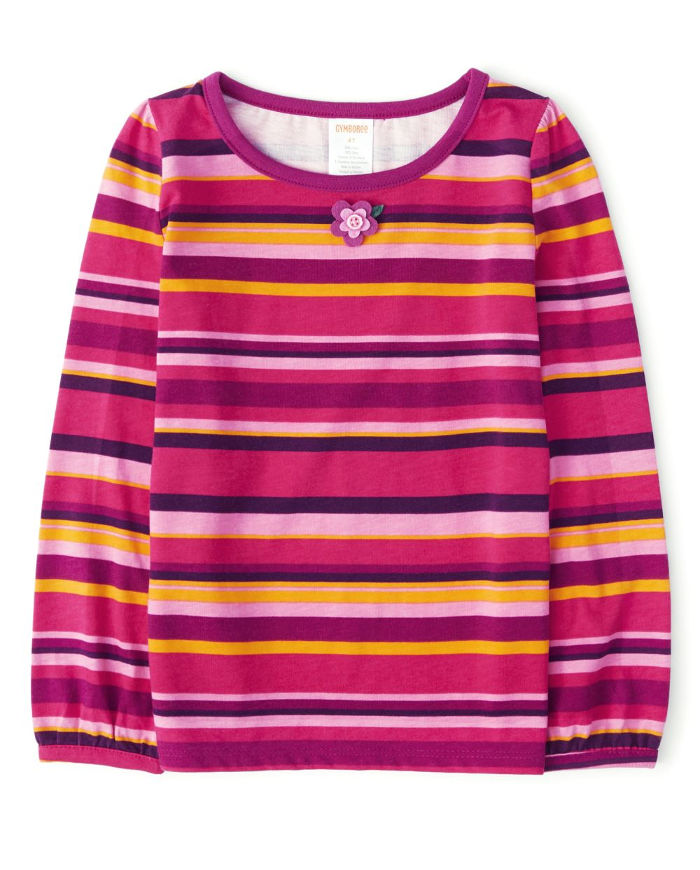 Girls Applique Flowers Striped Top - Berry Cute