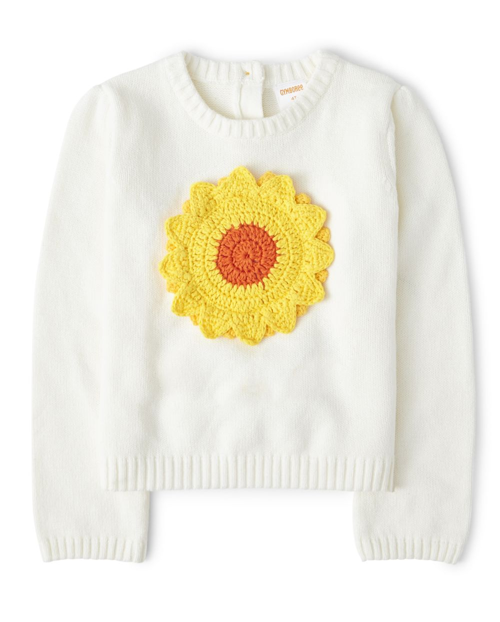 Girls Crochet Applique Sunflower Sweater - Harvest