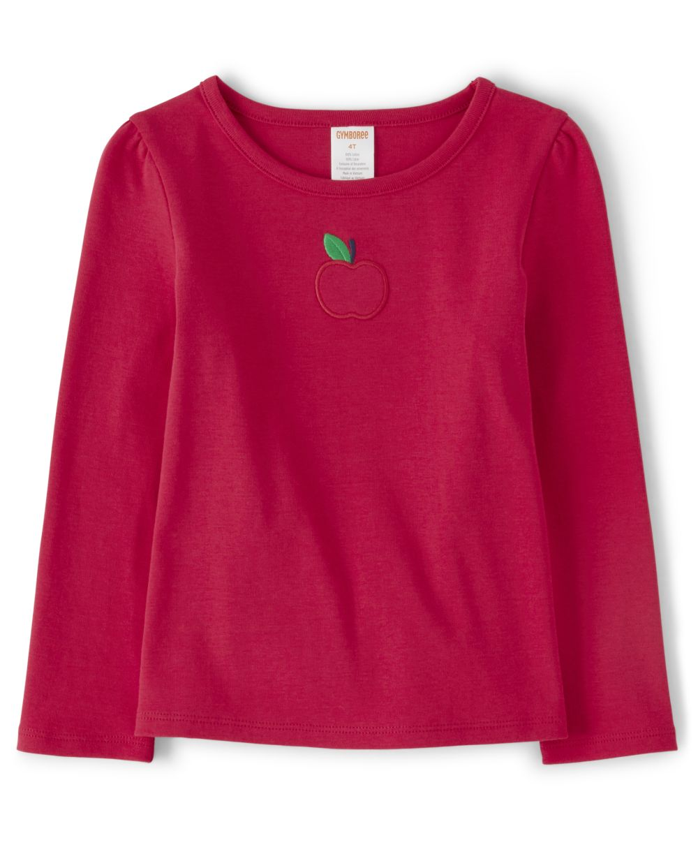 Girls Embroidered Top - Candy Apple