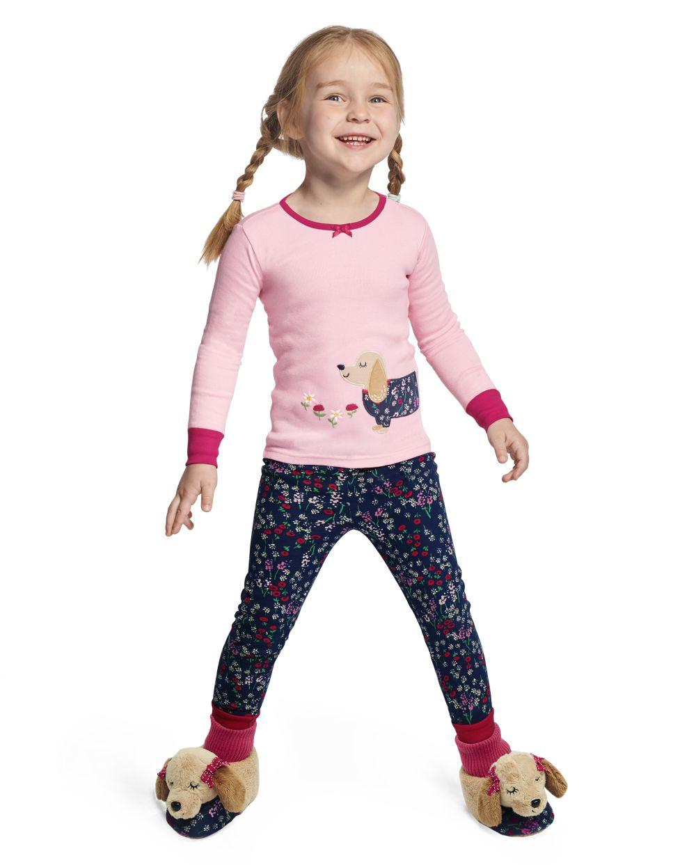 Girls Preppy Puppy Cotton 2-Piece Pajamas - Gymmies