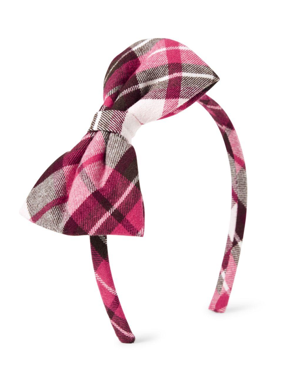 Girls Plaid Bow Headband - Winter Wonderland