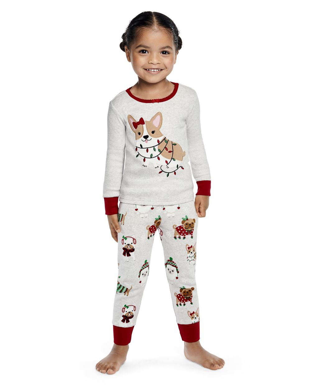 Girls Holiday Dog Cotton 2-Piece Pajamas - Gymmies