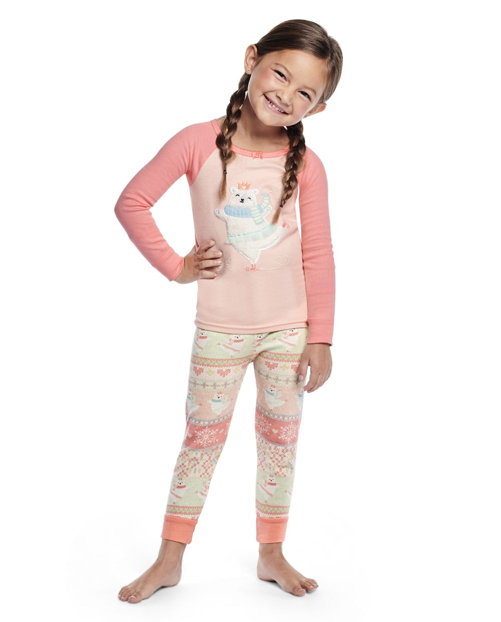 Girls Polar Bear Cotton 2-Piece Pajamas - Gymmies