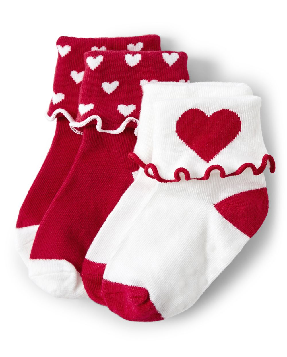 Girls Heart Turn Cuff Socks - Valentine Cutie