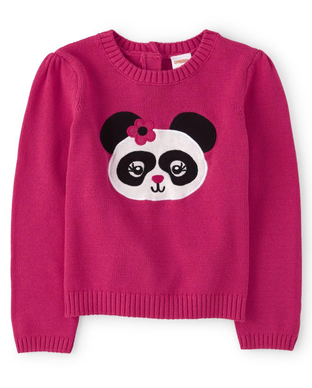 Girls Intarsia Sweater - Panda Party