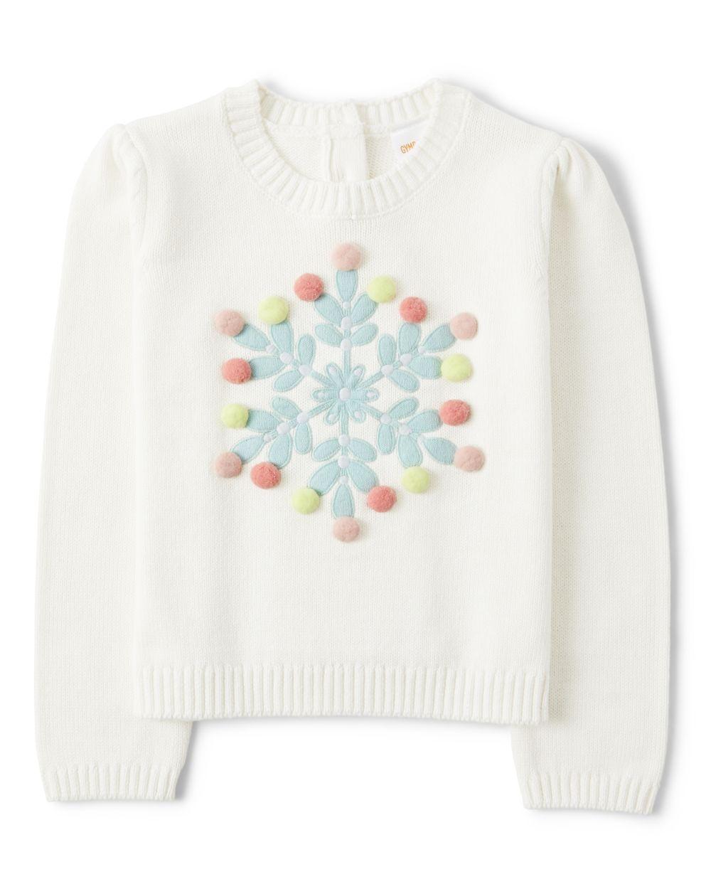 Girls Pom Pom Snowflake Sweater - Snow Princess