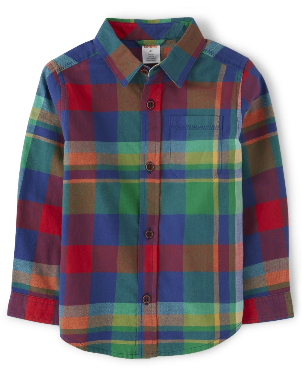 Boys Plaid Button Up Shirt - Dino Roar