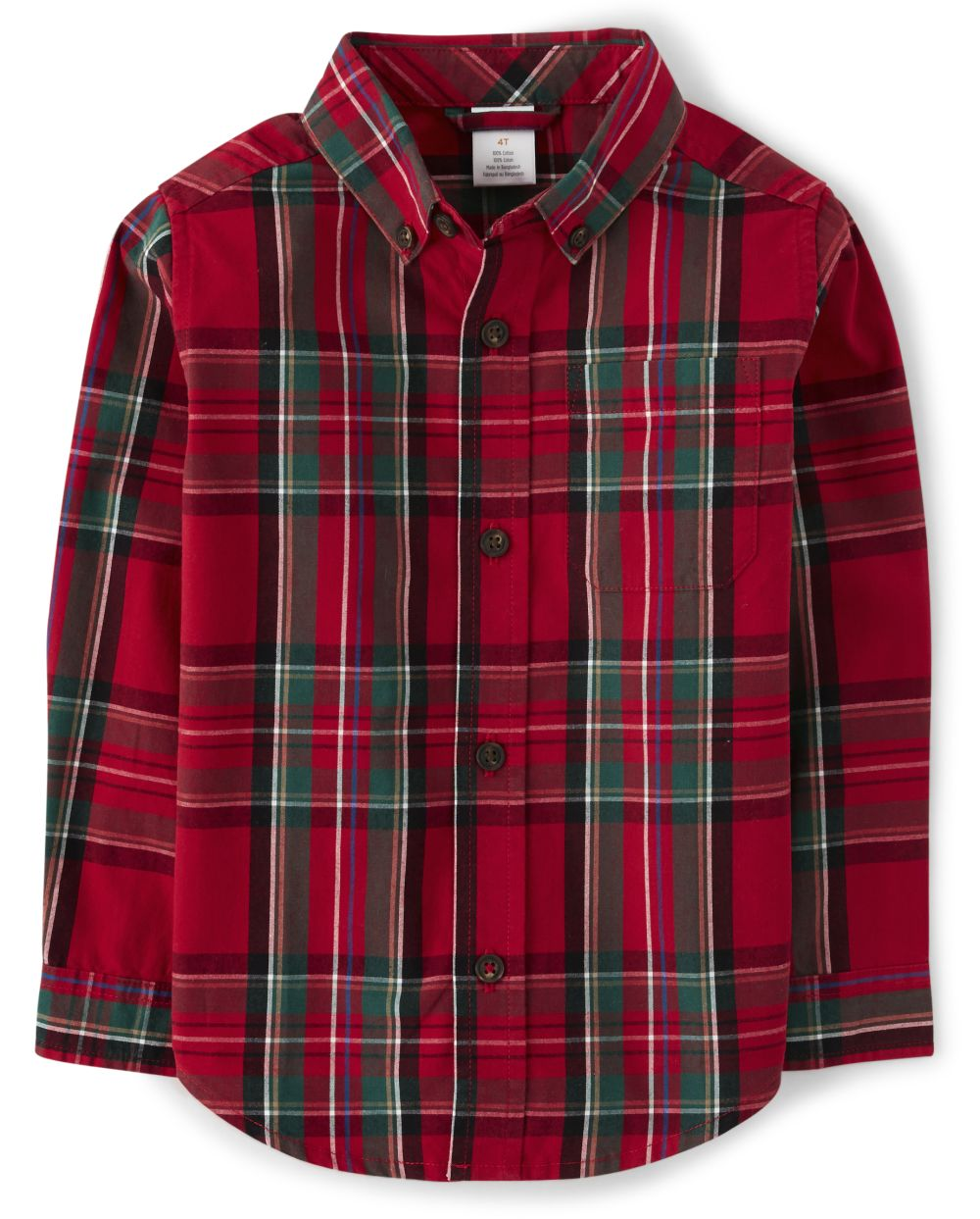 Boys Plaid Button Up Shirt - Picture Perfect
