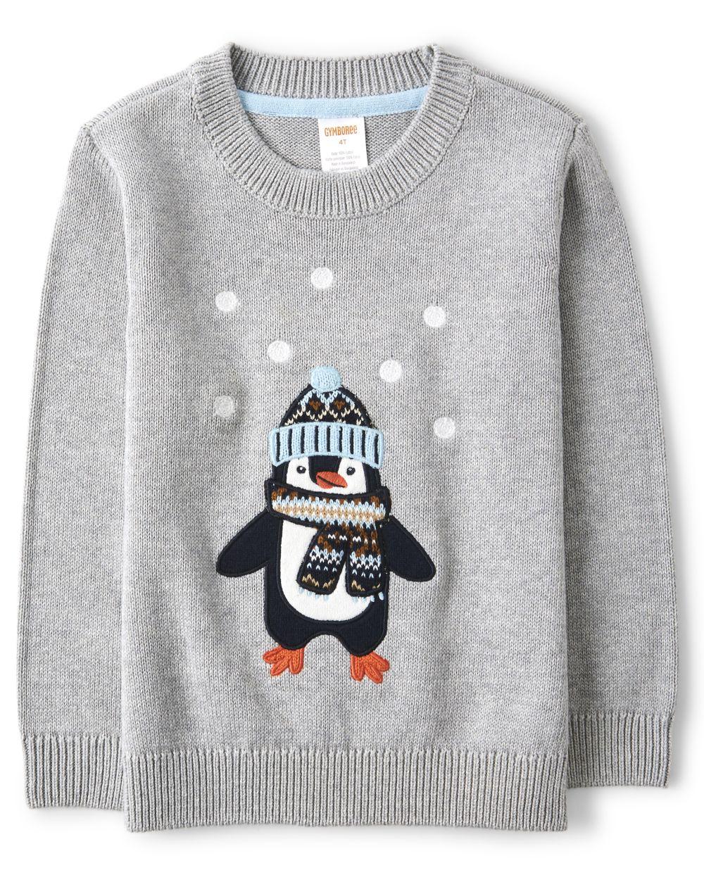 Boys Embroidered Penguin Sweater - Aspen Lodge