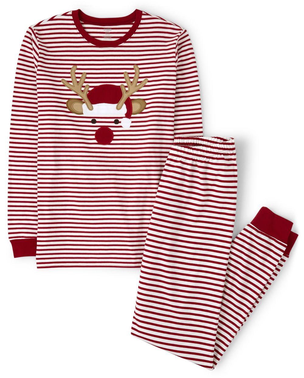 Unisex Adult Matching Family Reindeer Cotton 2-Piece Pajamas - Gymmies