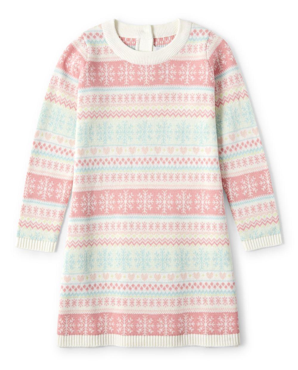 Girls Fairisle Sweater Dress - Snow Princess