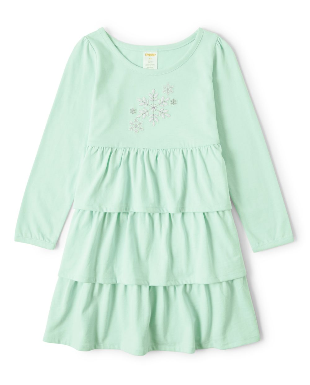 Girls Embroidered Snowflake Tiered Dress - Snow Princess