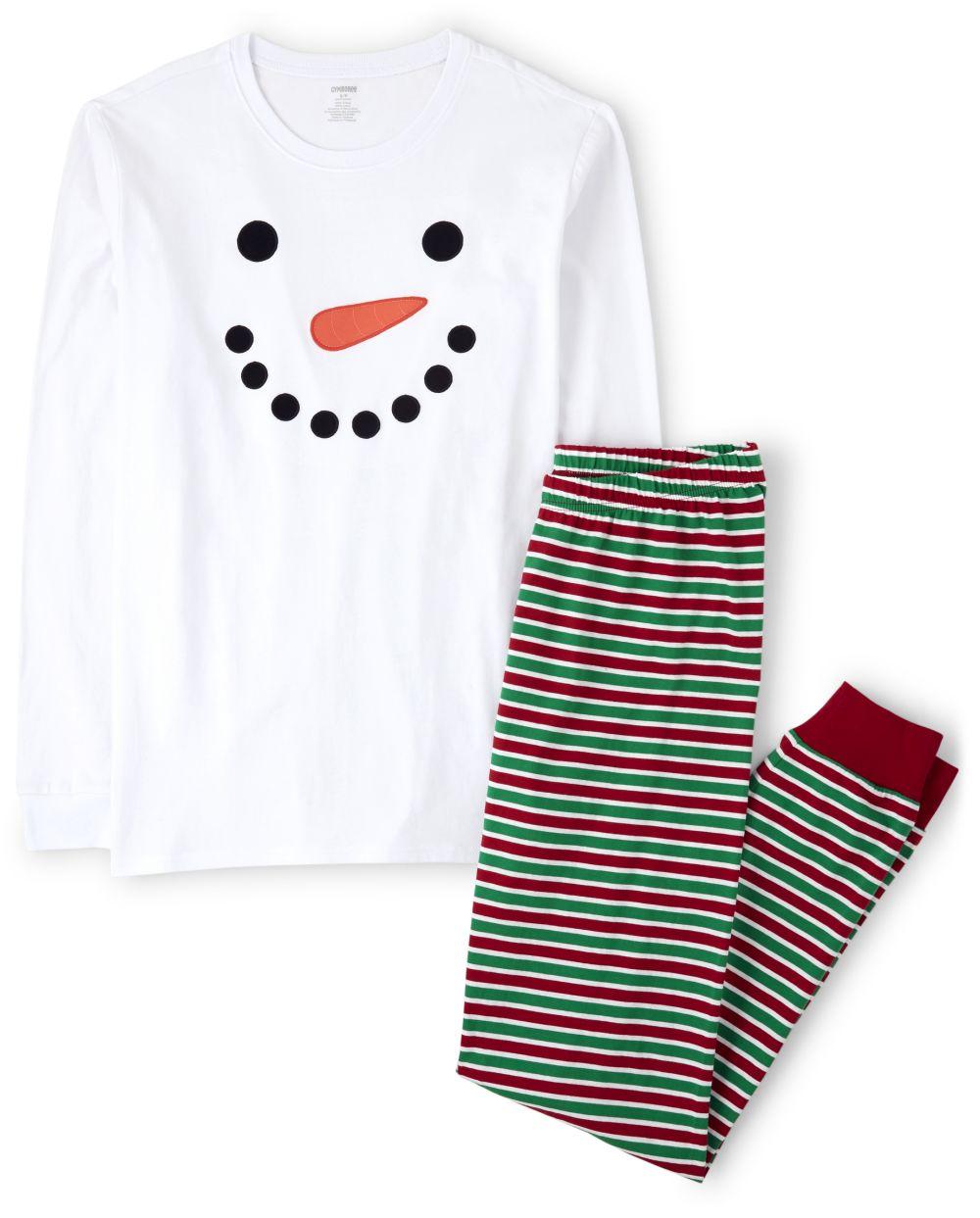 Unisex Adult Matching Family Snowman Cotton 2-Piece Pajamas - Gymmies