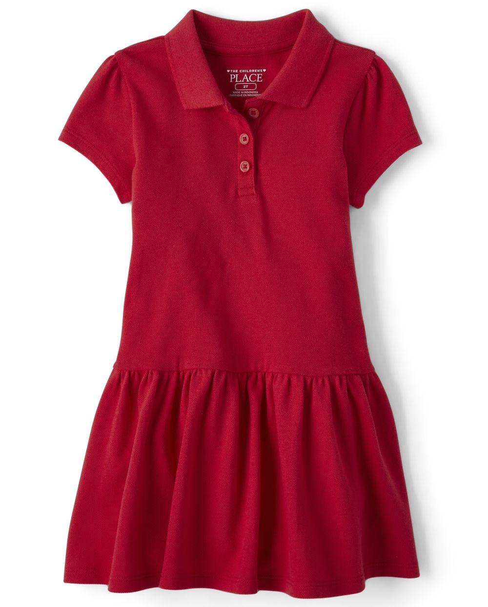 Vestido polo piqué uniforme para niñas pequeñas