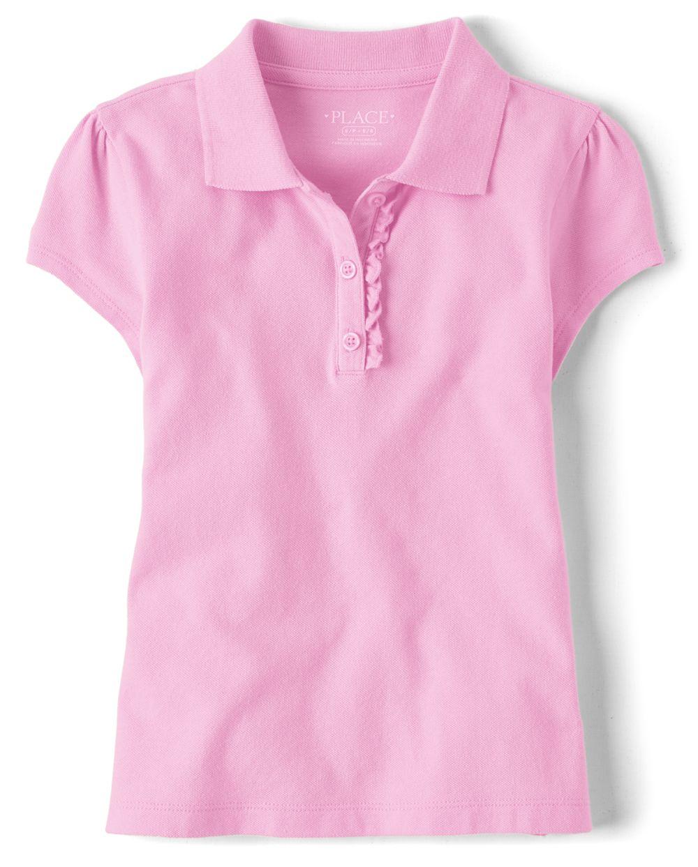 Polo en piqué à volants uniforme pour fille