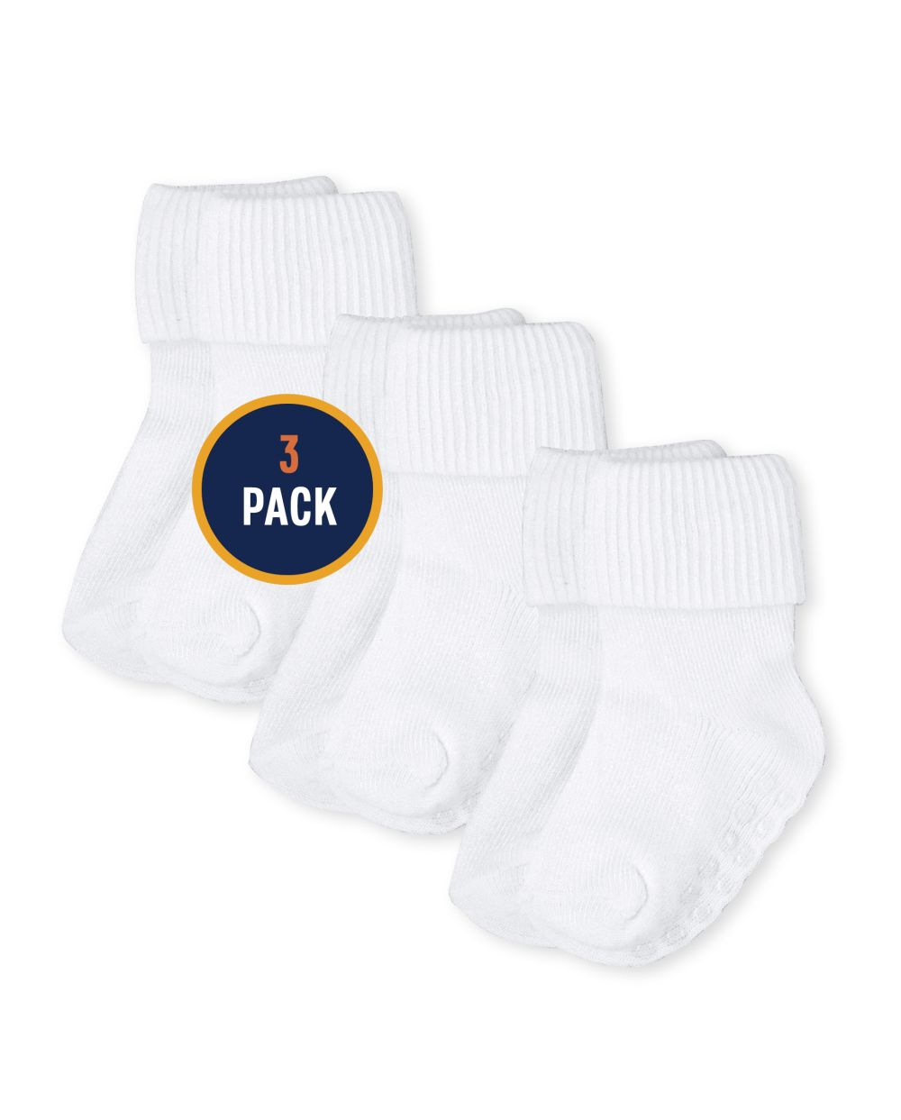 Paquete de 3 calcetines unisex para bebés y niños pequeños con triple rollo
