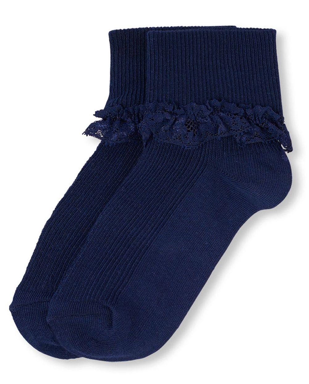 Girls Uniform Lace Ruffle Socks