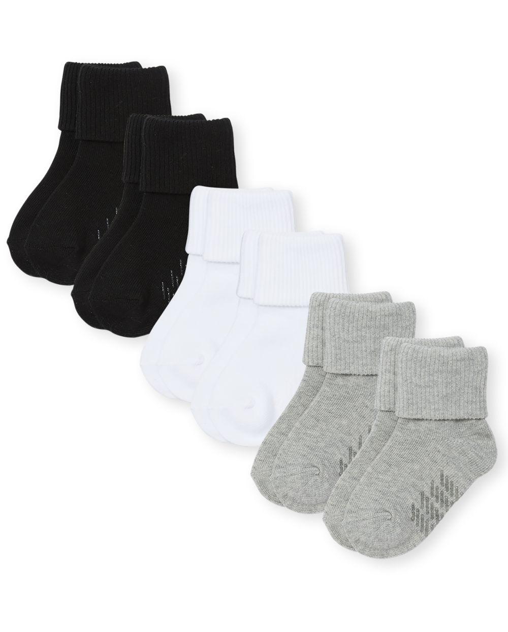 Paquete de 6 calcetines unisex para bebés y niños pequeños con triple rollo
