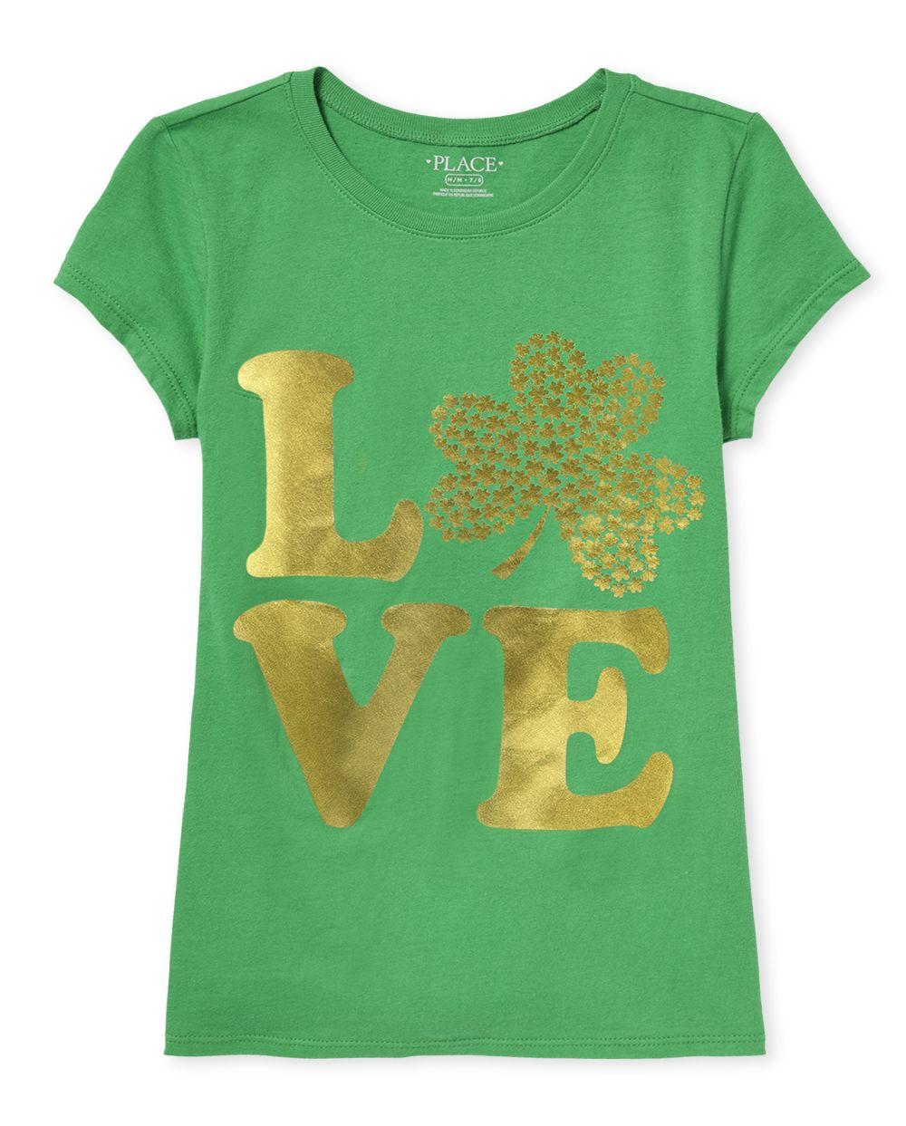 Girls Love Shamrock Graphic Tee