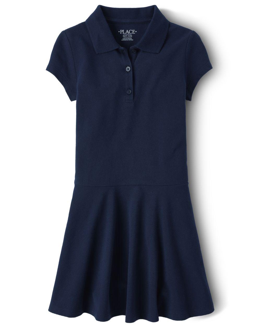 Vestido polo de piqué de uniforme para niñas