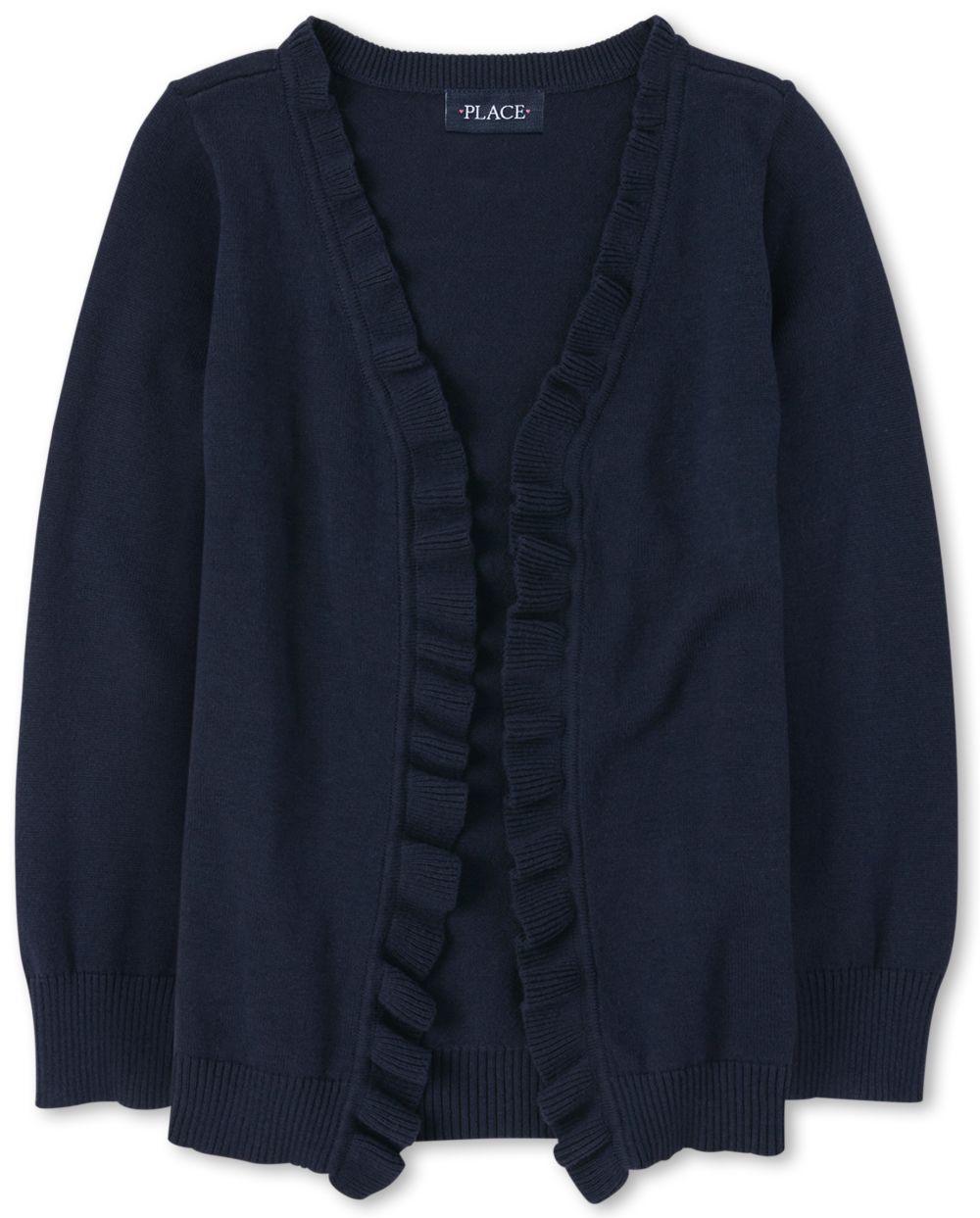 Girls Uniform Ruffle Open Front Cardigan