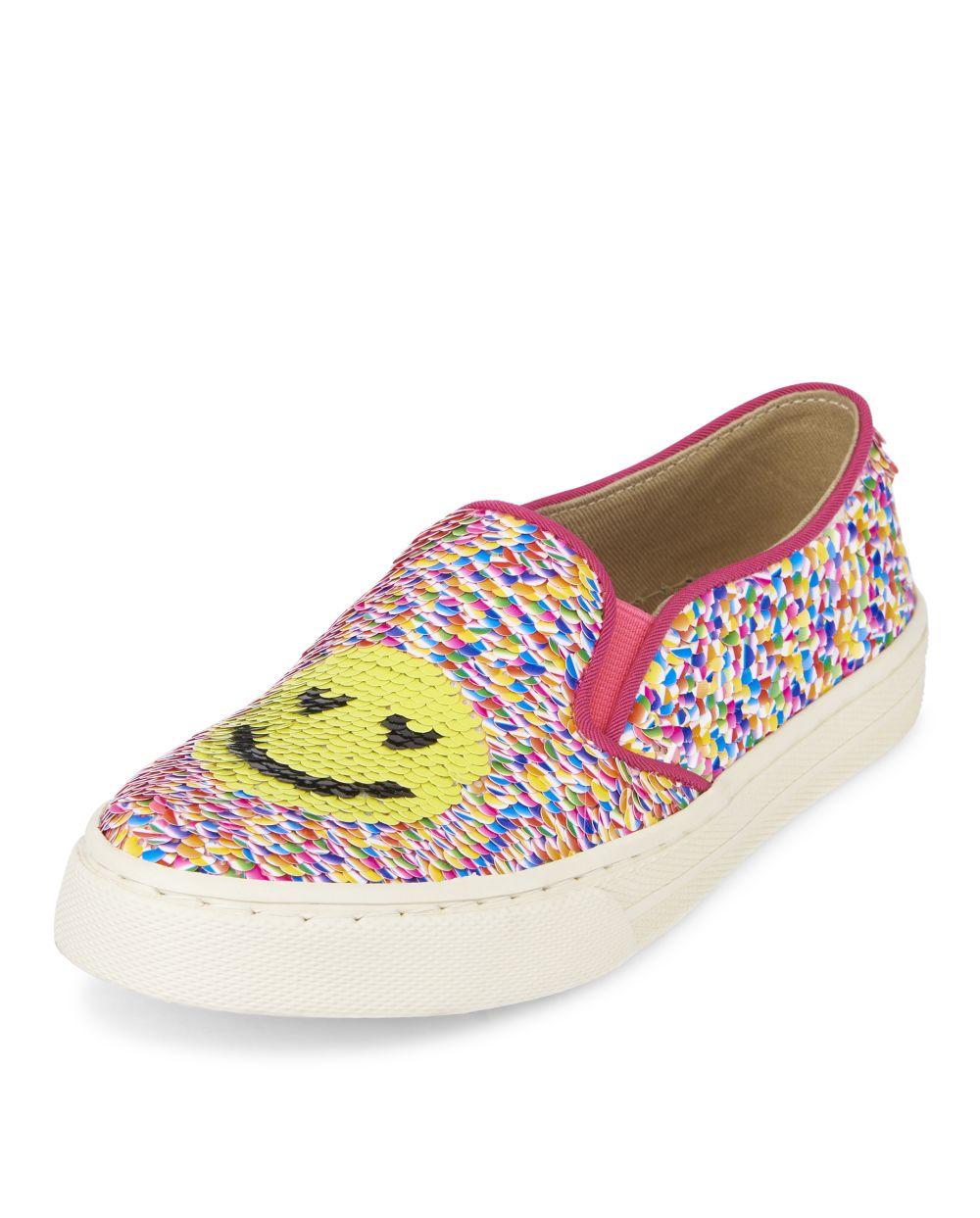 Girls Flip Sequin Emoji Slip On Sneakers
