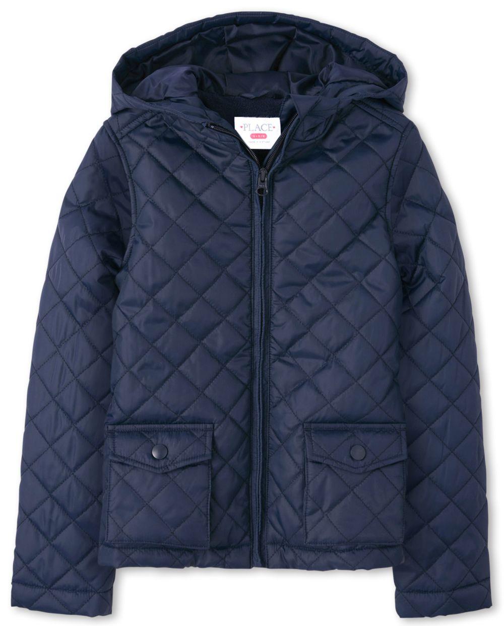 Girls Uniform Quilted Puffer Jacket