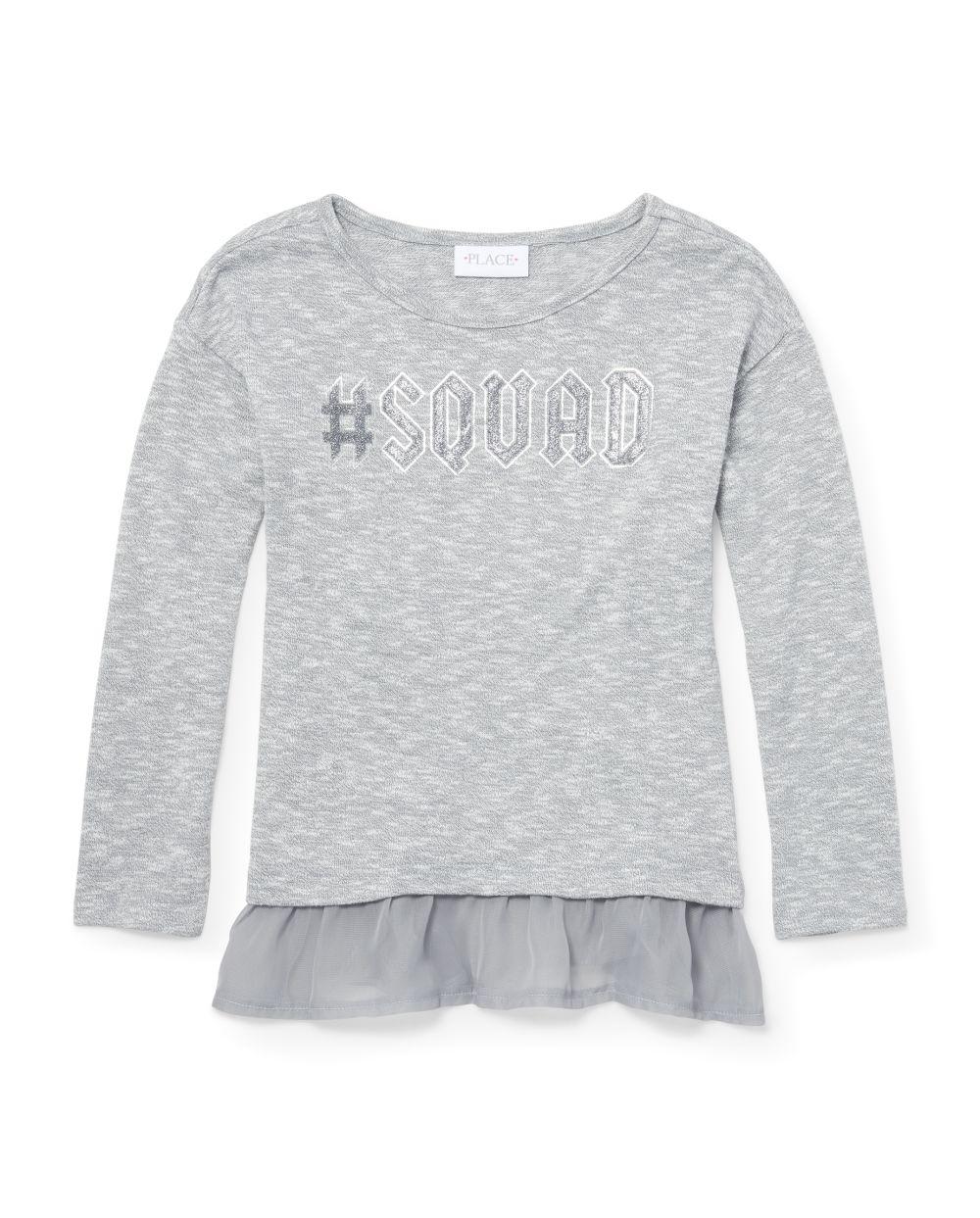 Girls Long Sleeve Glitter Graphic Lightweight Sweater Peplum Top