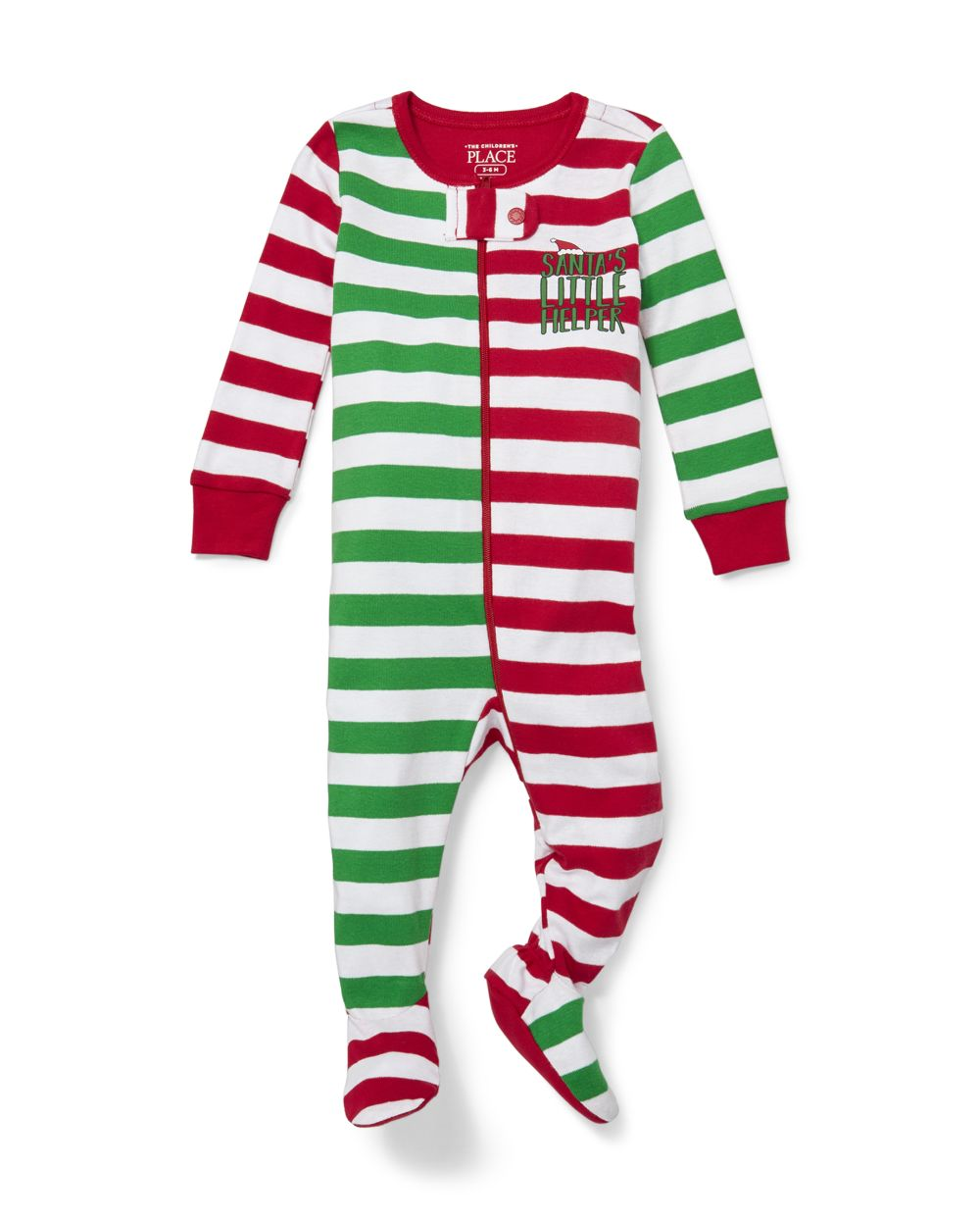 Unisex Baby And Toddler Matching Family Santa Striped Snug Fit Cotton One Piece Pajamas
