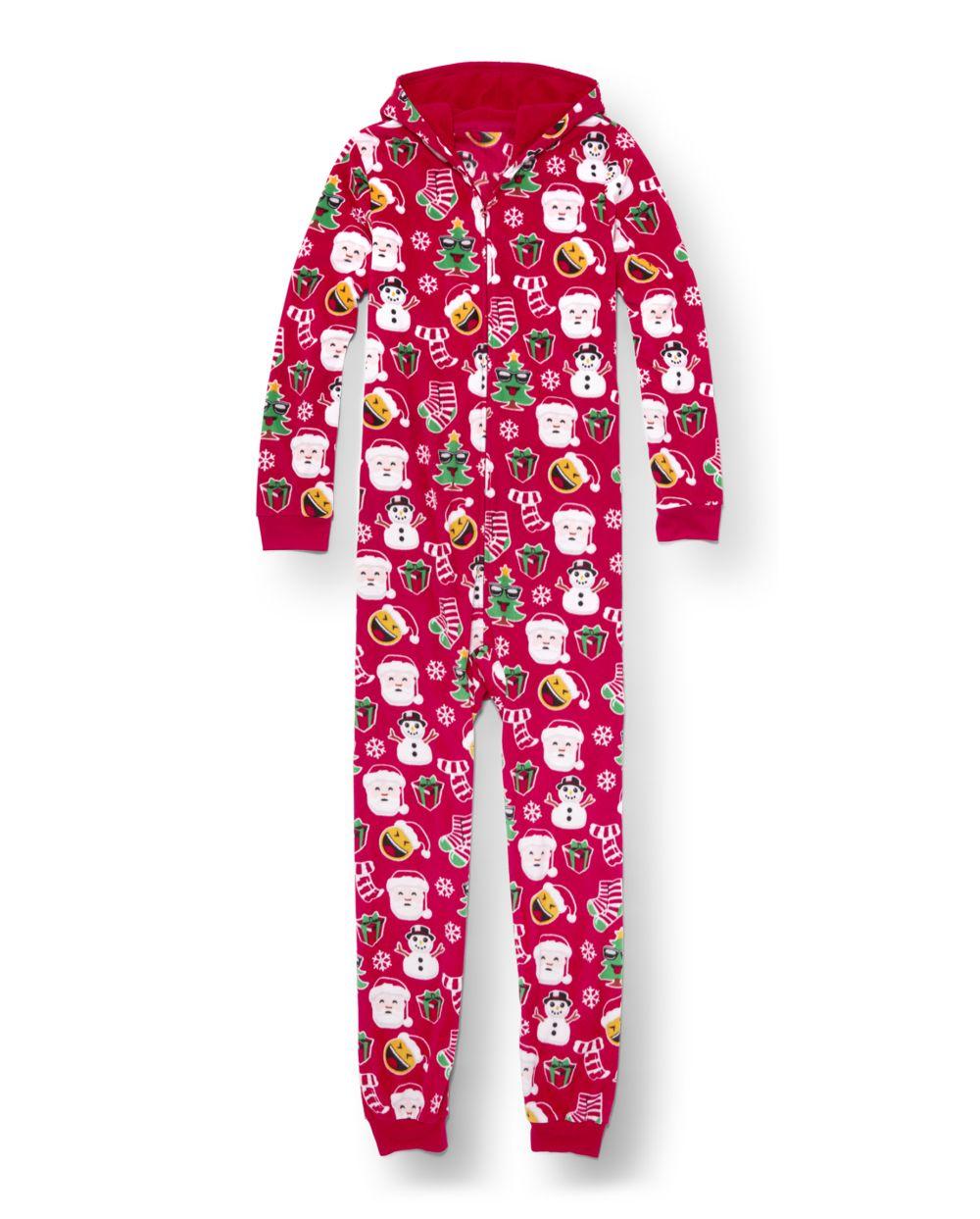 Unisex Adult Matching Family Long Sleeve Christmas Emoji Print Fleece Hooded One Piece Pajamas