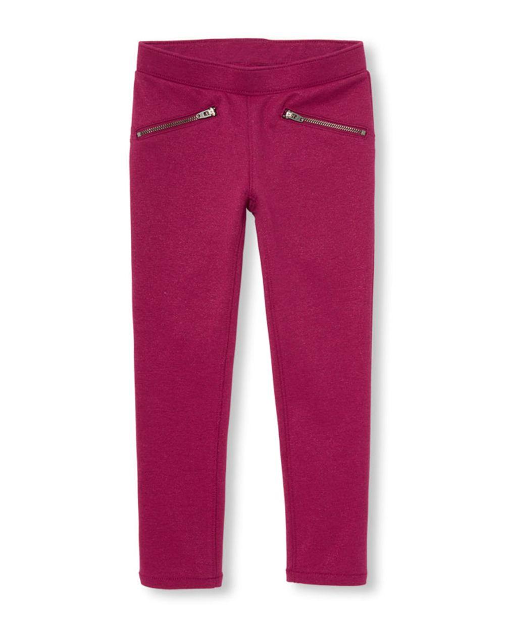 Girls Glitter Zip Ponte Knit Pull On Jeggings