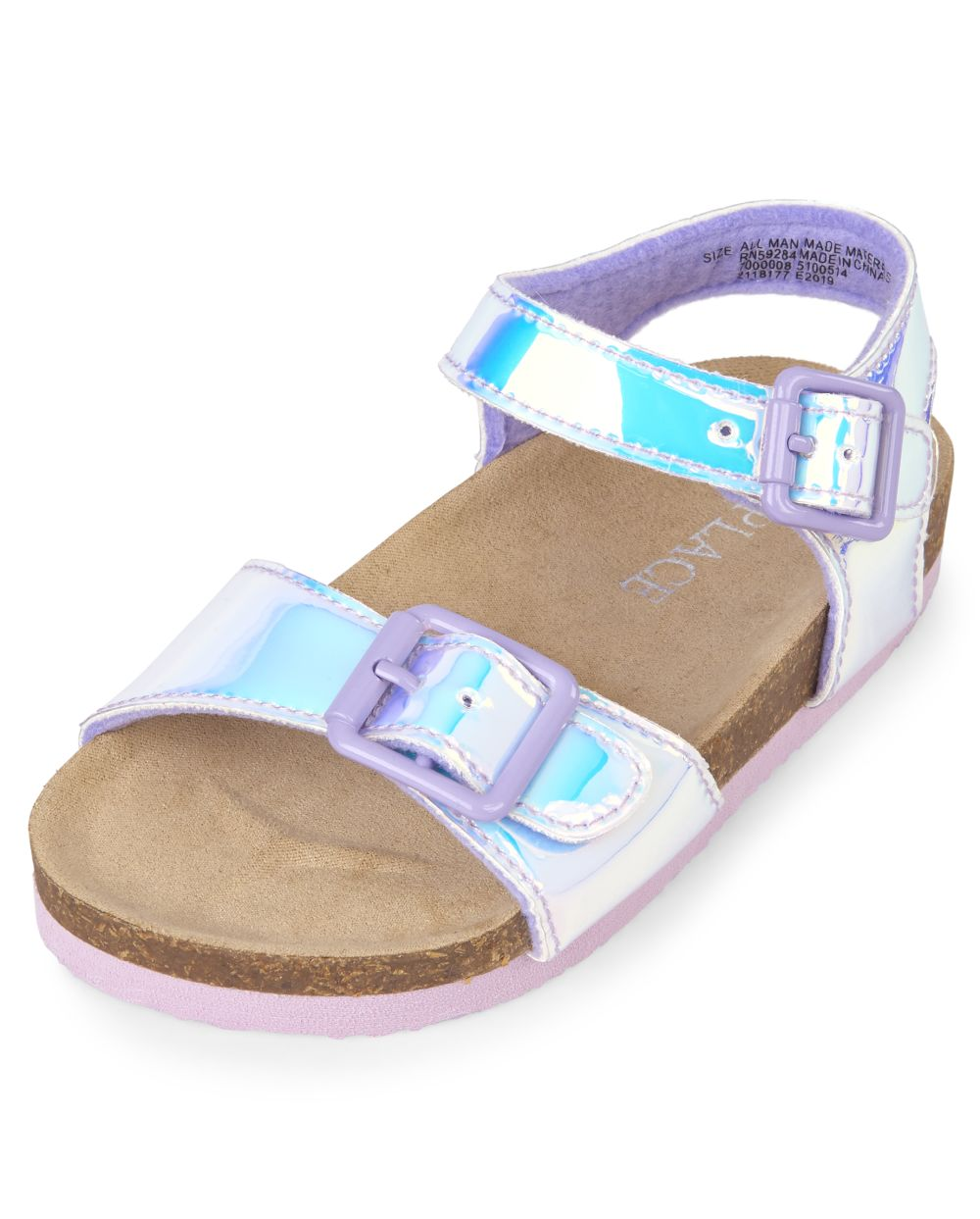Toddler Girls Holographic Double Strap Sandals