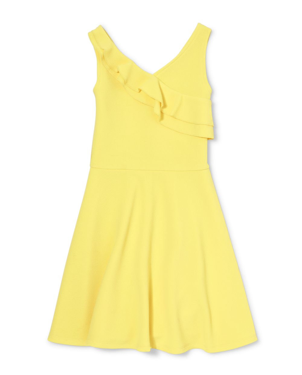 Girls Ruffle Stretch Jacquard Dress
