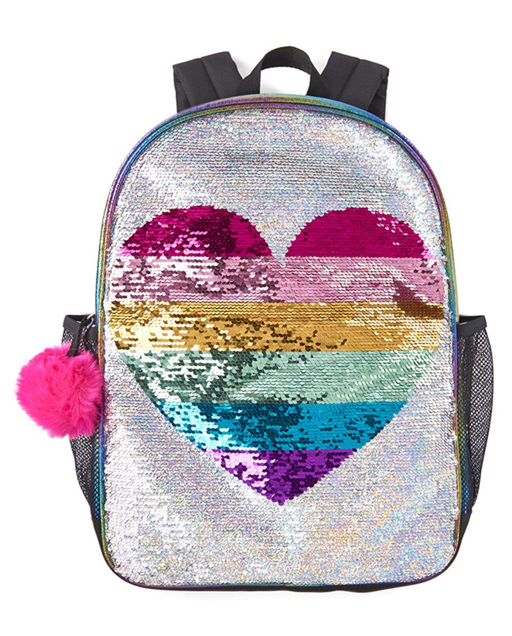 Girls Flip Sequin Rainbow Heart Backpack