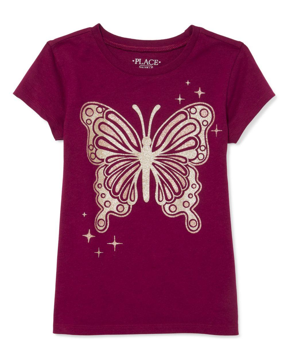 Girls Glitter Butterfly Graphic Tee
