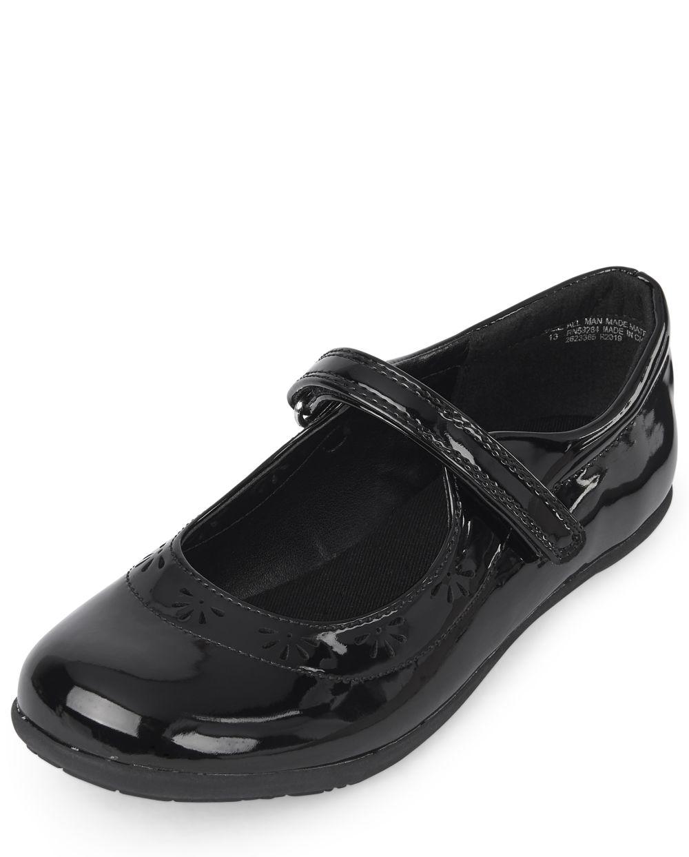 Girls Uniform Flower Shoes