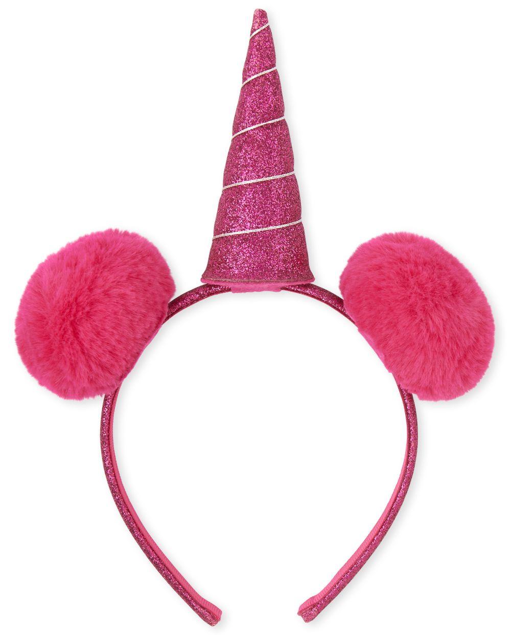Toddler Girls Faux Fur Pom Pom Unicorn Headband