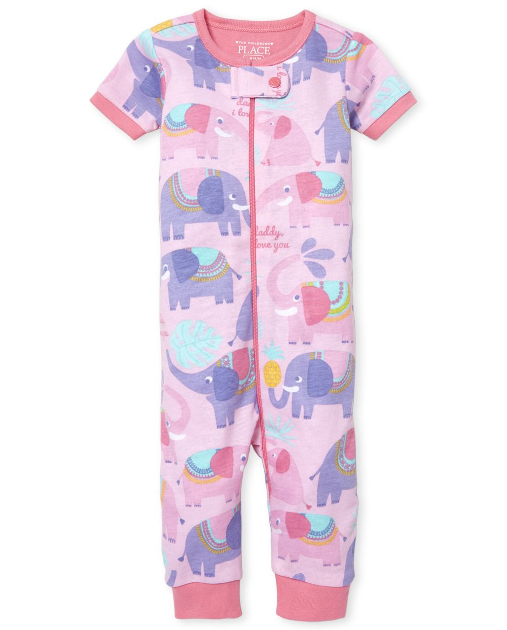 Baby And Toddler Girls Elephant Snug Fit Cotton One Piece Pajamas
